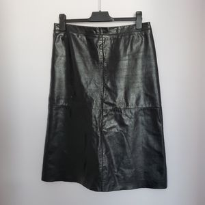 Vintage 90's Gap Leather Black Midi skirt sz 12